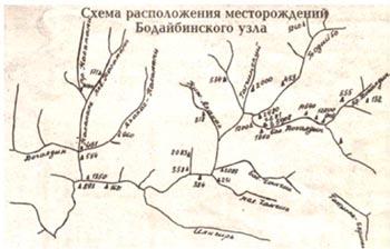 Схема расположения месторождений и места нахождения крупных самородков.